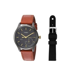 タイメックス Timex レディース アクセサリー 腕時計【IQ+ Move Leather Strap with Extra Silicone Strap】Brown/Black
