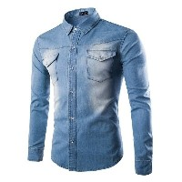 Casual Denim Shirts Long Sleeve Washed Men Slim Fit Jeans Shirt