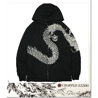 CROPPED HEADS 抜染ジップパーカ昇龍柄 (ZIP HOOD)(COLOR:BK)