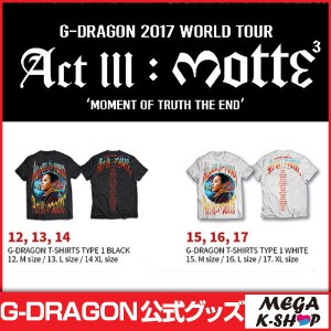 [MOTTE] G-DRAGON T-SHIRTS TYPE 1 [G-Dragon 2017 World Tour Act lll : motte MD][公式グッズ]