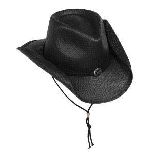 スカラ Scala メンズ 帽子 ハット【Shapable Cowboy Hat - Toyo Straw 】Black