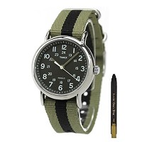 Timex Unisex T2P236 Weekender Khaki & Black Slip-Thru Nylon Strap Watch [海外直送品] + 無料ギフト(ボールペン) ...