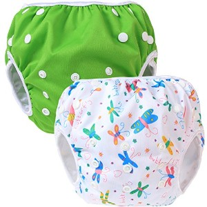 Teamoy Baby Swim Diaper Newborn Cloth Diaper Cover(Green+ Butterflies White) by Teamoy