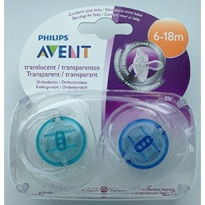 Avent Translucent Soother Twin Pack 6-18m (Turquoise / Blue) by Philips AVENT