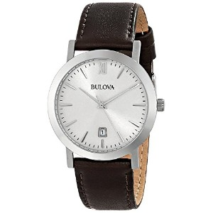 ブローバ Bulova 96B217 Mens Dress Brown Leather Strap Watch [並行輸入品]