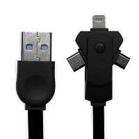 Achy JP USB充電ケーブル 3in1 Lightning MicroUSBケーブルtype-c Apple/iPhone5/6/7/iPad対応 USB2.1A急速充電 1m 黒