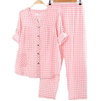 【Ani Mam Kids】ガーゼ 素材 で 爽やか 着心地 マタニティ パジャマ チェック 柄 授乳服 オールシーズン (XL, ピンク)