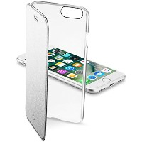 Cellularline iPhone7 ケース 手帳型 シルバー ホワイト CLEAR BOOK for iPhone7 【イタリアデザイン】