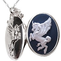ユニコーンの写真ネックレス Unicorn Locket Necklace Photo Pendant Heart Case for Gift (ペガサス)