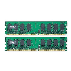 BUFFALO DDR2 667MHz SDRAM(PC5300)240pin DIMM 2GB2枚組 D2/667-2GX2