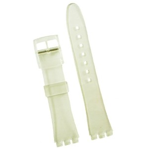 New 17mm (20mm) Sized Resin Strap Compatible for Swatch Watch - Clear - RG14T