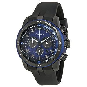 CITIZEN シチズン CA4155-12L Ecosphere Eco-Drive Chronograph Blue Dial Black Polyurethane Men's Watch...