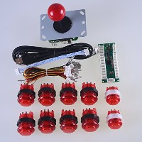 Reyann Zero Delay LED Arcade Game DIY Parts USB Pc to Joystick Interface + 1 X Red 5pin 8 Way...