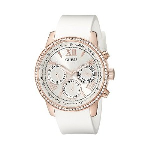 [ゲス] GUESS 腕時計 Women's Comfortable White Silicone & Rose Gold-Tone Multi-Function Watch with Day,...