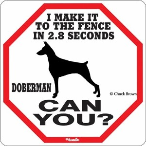 I MAKE IT TO THE FENCE IN 2.8 SECONDS DOBERMAN CAN YOU?サインボード:ドーベルマン [並行輸入品]