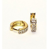 Hypoallergenic Surgical Steel Hoop Earring With 2 Rows Of 1.5 mm Cubic Zirconia (Yellow Gold Plated)