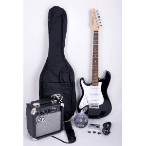 SX RST 3/4 LH BK レフトハンドモデル レフティ 左利き Short Scale Black Guitar Package with Amp, Carry Bag and...