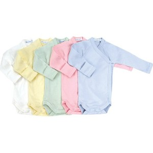 Under the Nile Long Sleeve Side Snap Babybody, Ice Blue Size 0-3 Months by Under the Nile