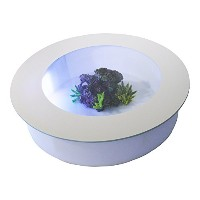 バーズアイ水槽 Bird's Eye Aquarium テーブル水槽・キャスター付き Round Aquarium Low Coffee Table on Wheels BEA-JEL-0707W ...