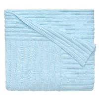 Elegant Baby 100% Cotton, Wide Cable Knit Blanket with Wide Ribbed Border 36 x 45 Inch in Baby Blue...