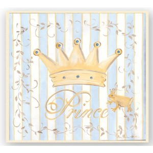 The Kids Room by Stupell Gold Crown with Blue and White Stripes Square Wall Plaque by The Kids Room...