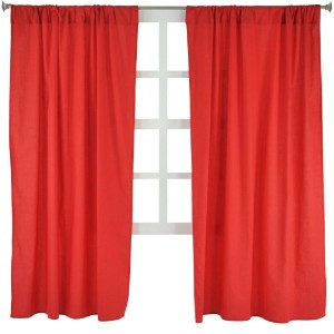 Tadpoles Basics Set of 2 Curtain Panels, Solid Red, 63 by Tadpoles