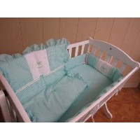 Baby Doll Bedding Gingham with Rocking Horse Applique Cradle Bedding Set, Mint by BabyDoll Bedding