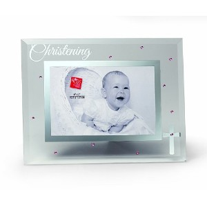 Russ Berrie Small Blessings Christening Glass Photo Frame, Pink by Russ Berrie