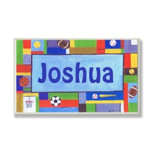 The Kids Room by Stupell Joshua, Contemporary Sports Personalized Rectangle Wall Plaque by The Kids...