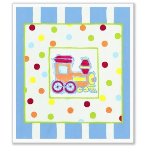 The Kids Room by Stupell Train with Polka Dots and Blue Stripes Rectangle Wall Plaque by The Kids...