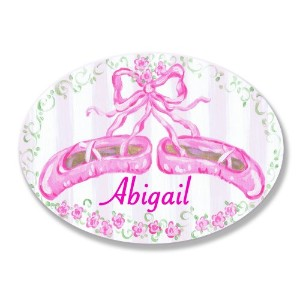 The Kids Room by Stupell Abigail, Pink Ballet Slippers Personalized Oval Wall Plaque by The Kids...
