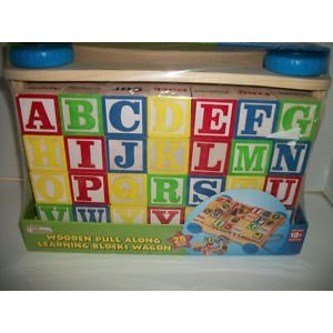 Wooden Pull Along Learning Blocks Wagon by First Learning by First Learning