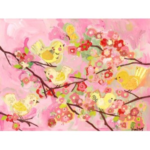 Oopsy Daisy Cherry Blossom Birdies Pink and Yellow Wall Art, 24 by 18 by Oopsy Daisy