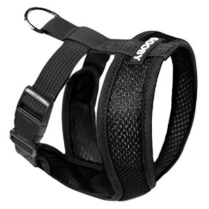 Gooby 04110-BLK-M Comfort X Harness Black Medium Soft Synthetic Lambskin Trimming Strap