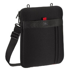 RIVACASE 5109 Water-resistant Jersey Case with Shoulder Strap for 10 Inch Tablets & iPad, Black