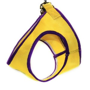 Gooby 04012-YEL-M Jersey Step-In Harness Yellow and Purple Medium Soft Synthetic Lambskin Strap
