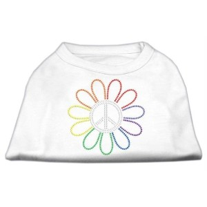 Mirage Pet Products 52-69 SMWT Rhinestone Rainbow Flower Peace Sign Shirts White S - 10