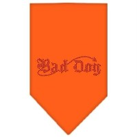 Mirage Pet Products 67-06 LGOR Bad Dog Rhinestone Bandana Orange Large