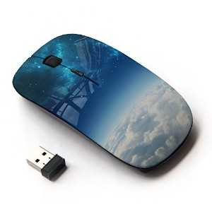 KOOLmouse [ ワイヤレスマウス 2.4Ghz無線光学式マウス ] [ Blue Space Galaxy Above Clouds ]