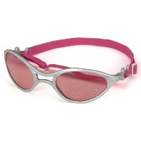 Doggles K9 Optix Dog Goggles Sunglasses in Shiny Silver Frame / Pink lens Large
