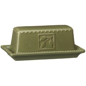 Signature Housewares Sorrento Collection Butter Dish, Green Antiqued Finish by Signature Housewares