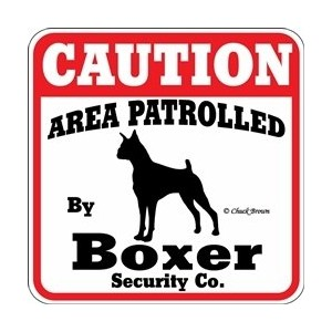 CAUTION AREA PATROLLED By Boxer Security Co. サインボード:ボクサー [並行輸入品]