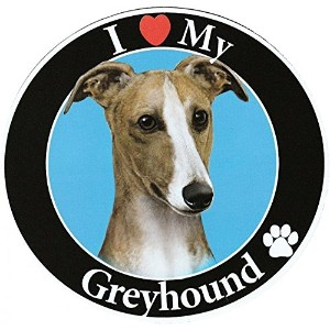 Greyhound サークルマグネットステッカー:グレイハウンド 画像イラスト入り 英語犬種名 Designed in the U.S.A [並行輸入品]