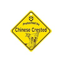 Protected by Chinese Crested スモールサインボード:チャイニーズクレステッド 監視中 ミニ看板 アメリカ製 Made in U.S.A [並行輸入品]