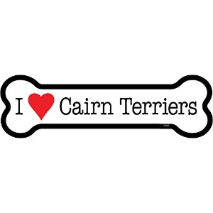 Cairn Terriers ボーンマグネットステッカー:ケアーンテリア 大好き 骨型 防水・耐水仕様 英語犬種名 MADE IN U.S.A [並行輸入品]