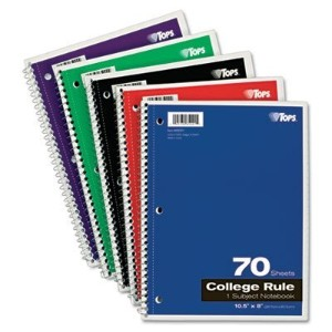 Wirebound 1-Subject Notebook, College Rule,10-1/2 x 8, White, 70 Sheets/Pad (並行輸入品)