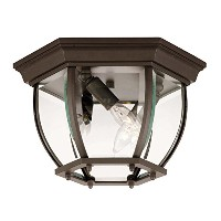 Savoy House 07038-BZ Outdoor Flush Mount with Clear Beveled Shades, Bronze Finish by Savoy House