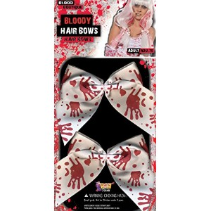 Bristol Novelty Red/White Bloody Hair Bows Costume Accessories - Men's - One Size