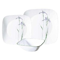 Corelle Square Shadow Iris 18-piece食器セット、サービスfor 6