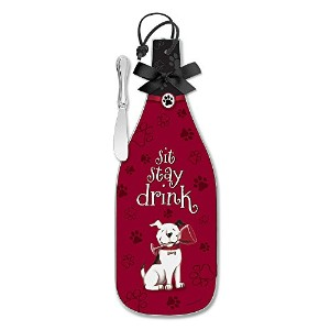Epic Products Sit, Stay and Drink Wine Bottle Cheese Server, Multicolor by EPIC